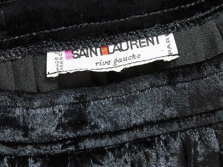 Yves Saint Laurent Crushed Velvet Pleated Skirt In Excellent Condition For Sale In New York, NY
