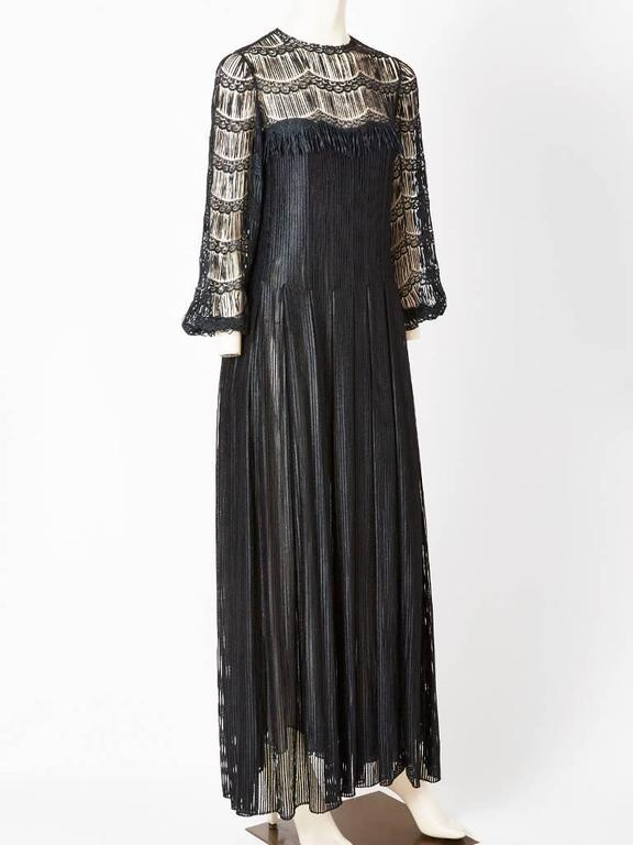 Black Galanos Open Work Gown For Sale