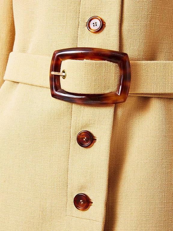 Galanos Wool Belted Coat With Tortoise Detail 3