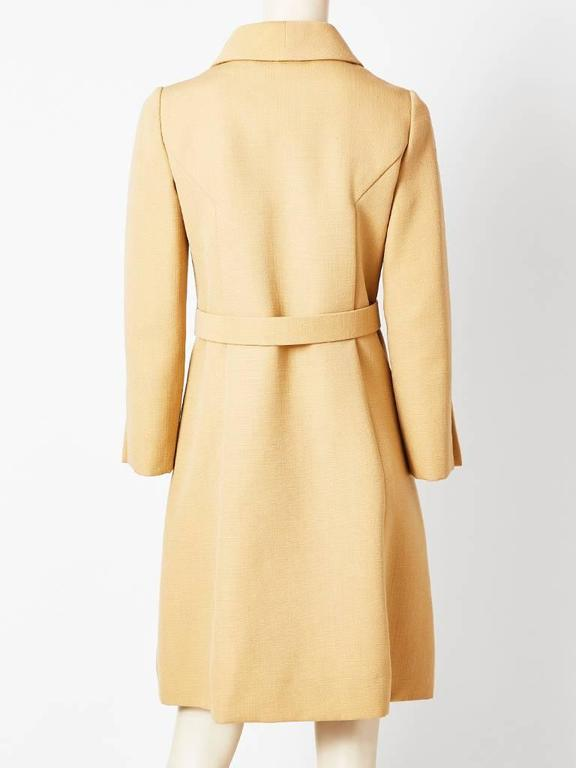 Galanos Wool Belted Coat With Tortoise Detail In Excellent Condition For Sale In New York, NY