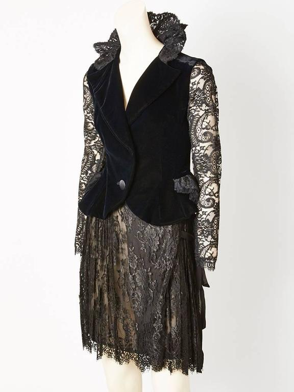 Christian Lacroix Lace and Velvet Cocktail Ensemble 2