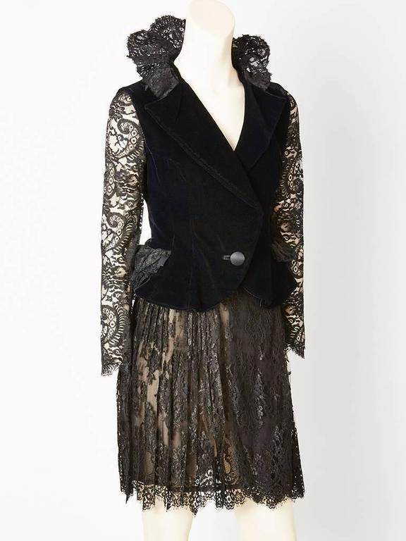 Christian Lacroix Lace and Velvet Cocktail Ensemble 3