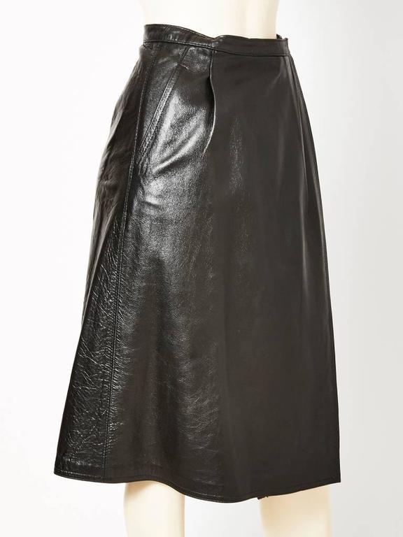 Black Yves Saint Laurent Leather Wrap Skirt For Sale