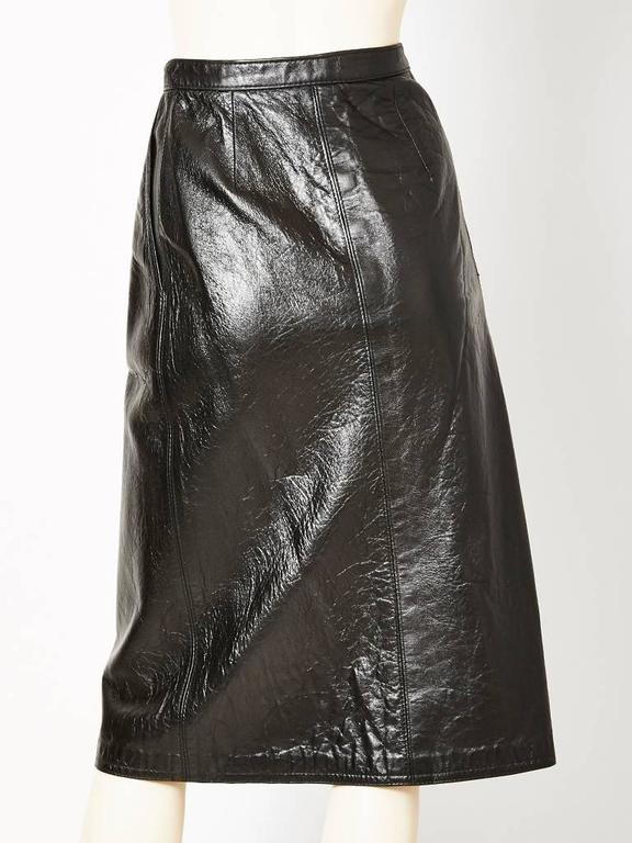 Yves Saint Laurent Leather Wrap Skirt In Excellent Condition For Sale In New York, NY
