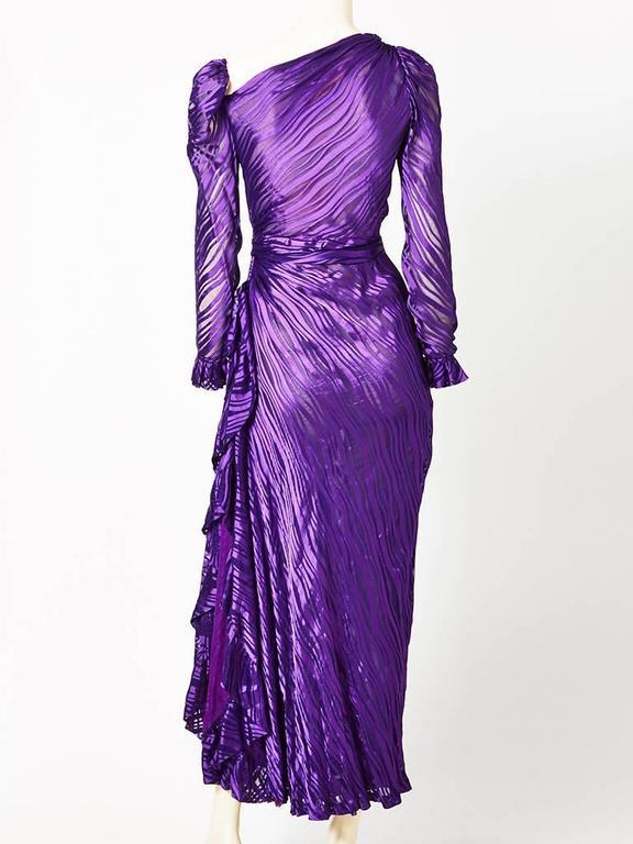 Purple Yves Saint Laurent Chiffon Bias Cut Gown For Sale
