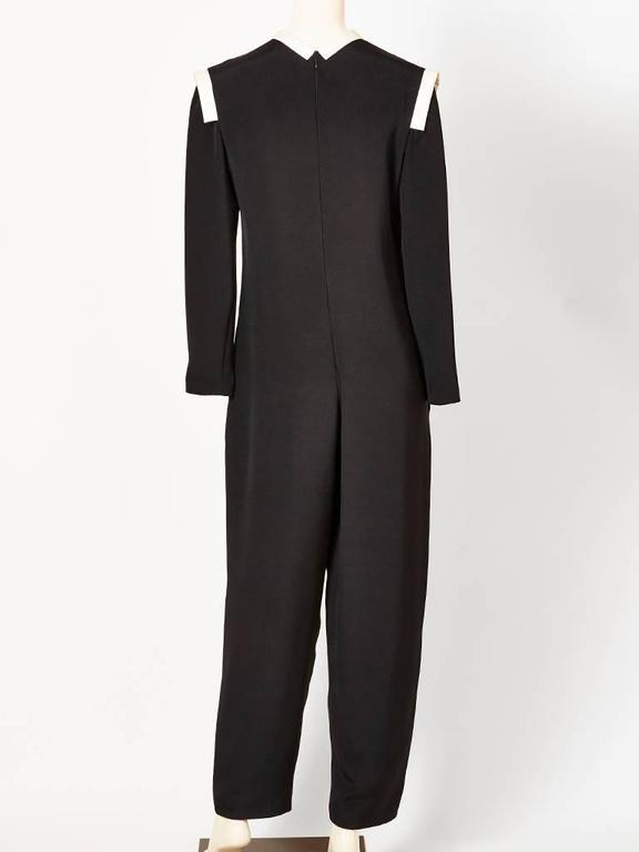 Black Geoffrey Beene Jumpsuit with White Detail For Sale