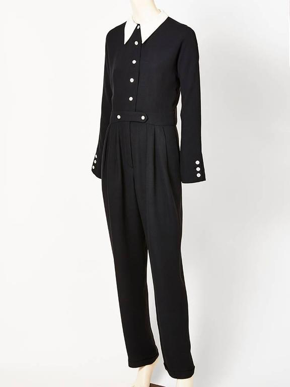 Geoffrey Beene Navy Crepe Jumpsuit With Cotton Piqué Collar 2