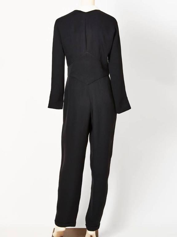 Geoffrey Beene Navy Crepe Jumpsuit With Cotton Piqué Collar 3