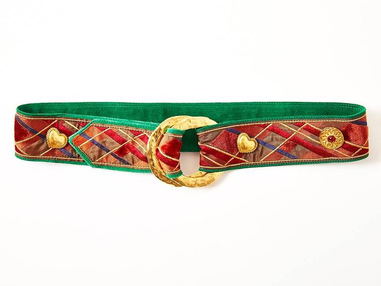 Yves Saint Laurent Plaid Belt with Heart Charms 2