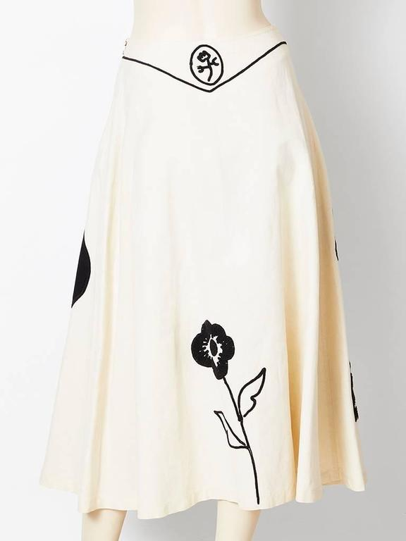 Black Castelbajac Whimsical Embroidered and Applique Skirt For Sale