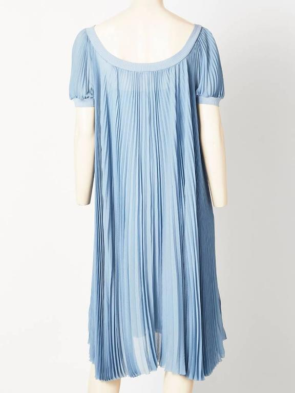 Hermes Dusty Blue Silk Georgette Pleated Dress In Excellent Condition For Sale In New York, NY