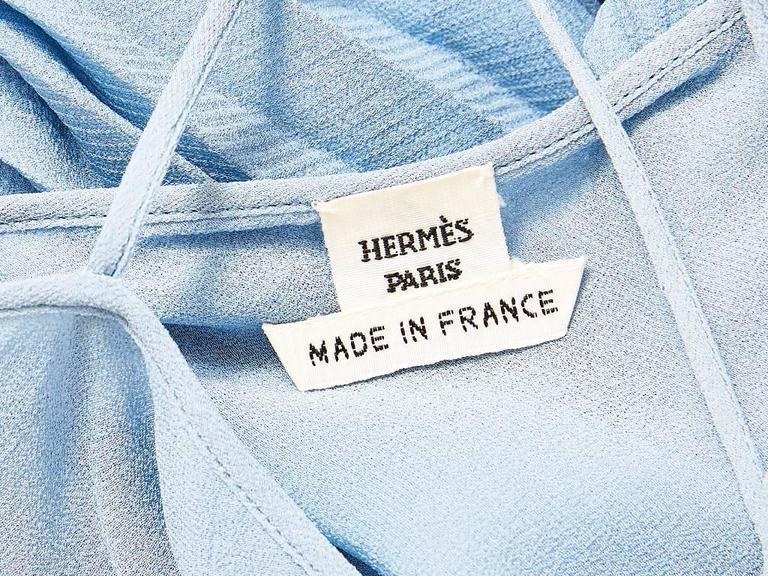 Women's Hermes Dusty Blue Silk Georgette Pleated Dress For Sale