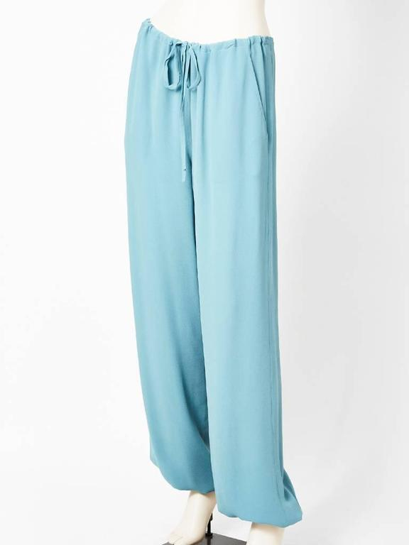 Martin Margiela for Hermes, soft blue, silk georgette harem pant having a draw string waist and hidden side pockets.