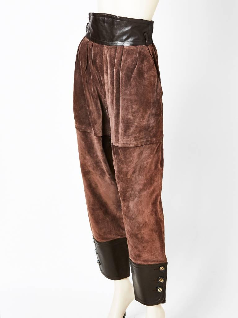 Yves Saint Laurent Leather And Suede Pant For Sale At 1stdibs