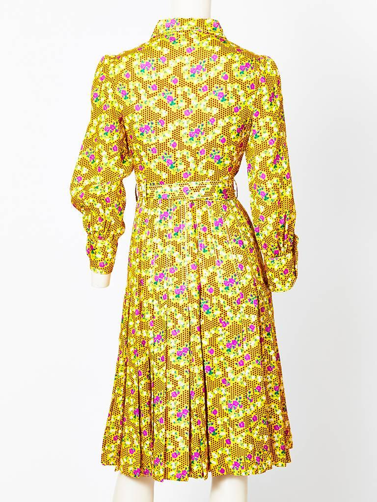 Galanos Patterned Silk Shirt Dress For Sale At 1stdibs