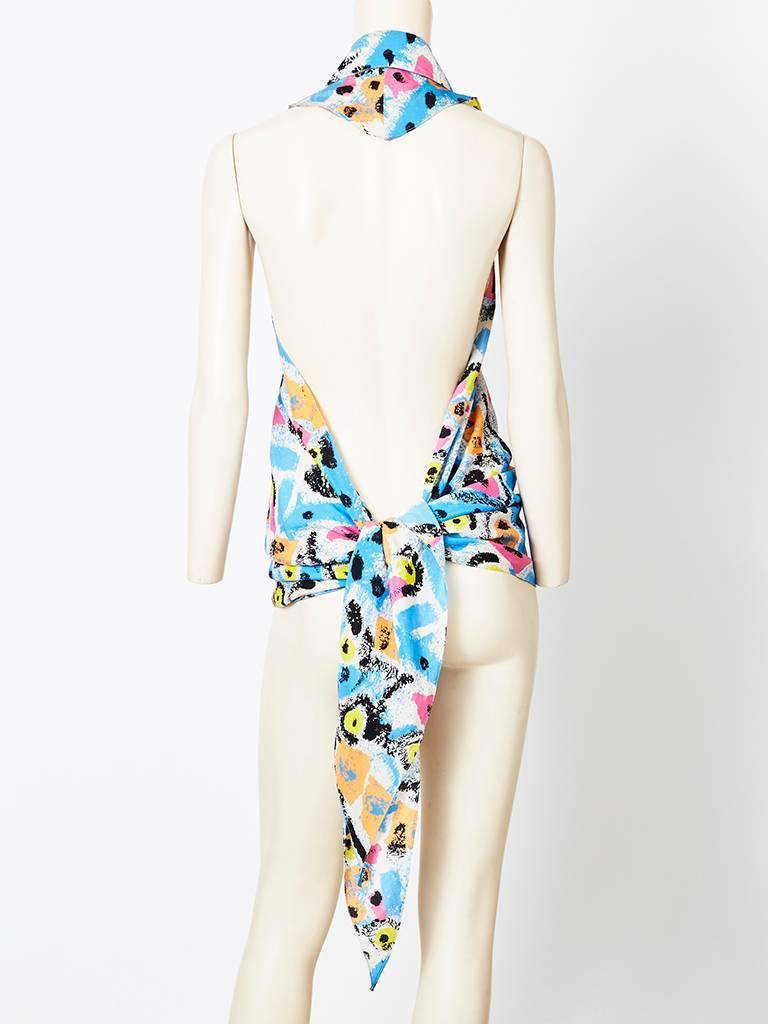 Gray Lagerfeld Abstract Pattern Wrap Top For Sale