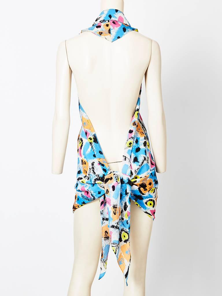Lagerfeld Abstract Pattern Wrap Top In Excellent Condition For Sale In New York, NY