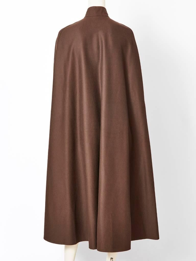 Brown Yves saint Laurent Wool Cape with Mandarin Collar For Sale