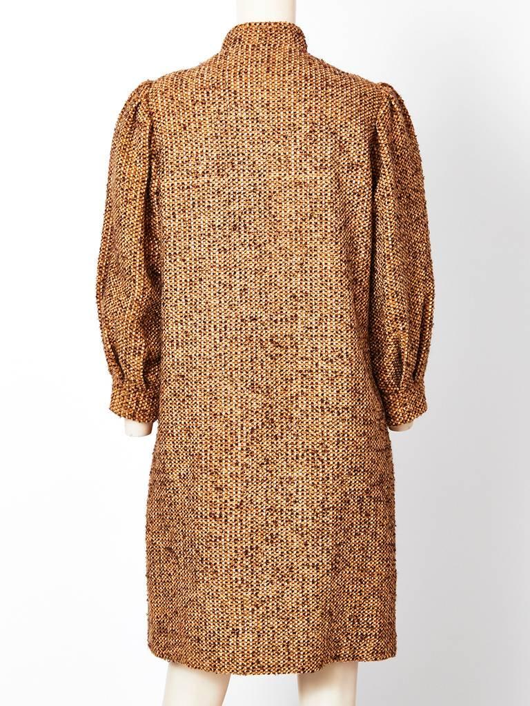 Brown Galanos Tweed Coat For Sale
