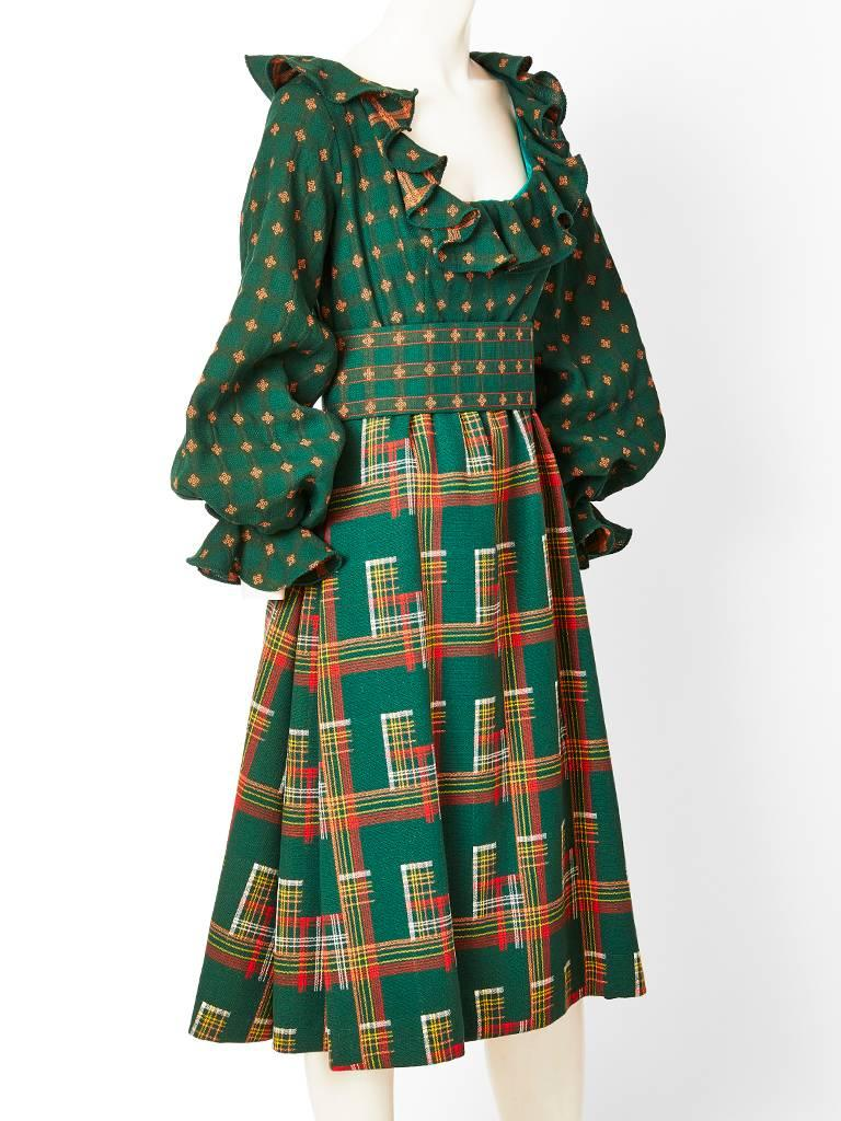 Ronald Amey, Mixed Patterns Wool Dress and Gilet In Excellent Condition For Sale In New York, NY