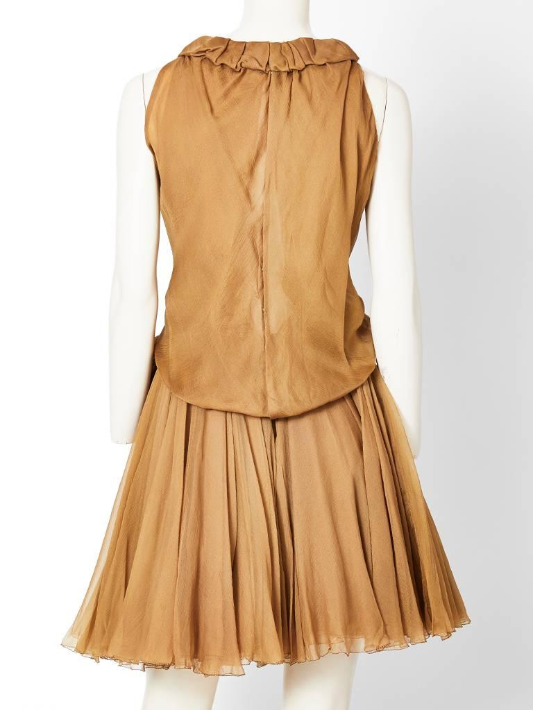 Brown Galanos Multi Layered Chiffon Cocktail Dress For Sale