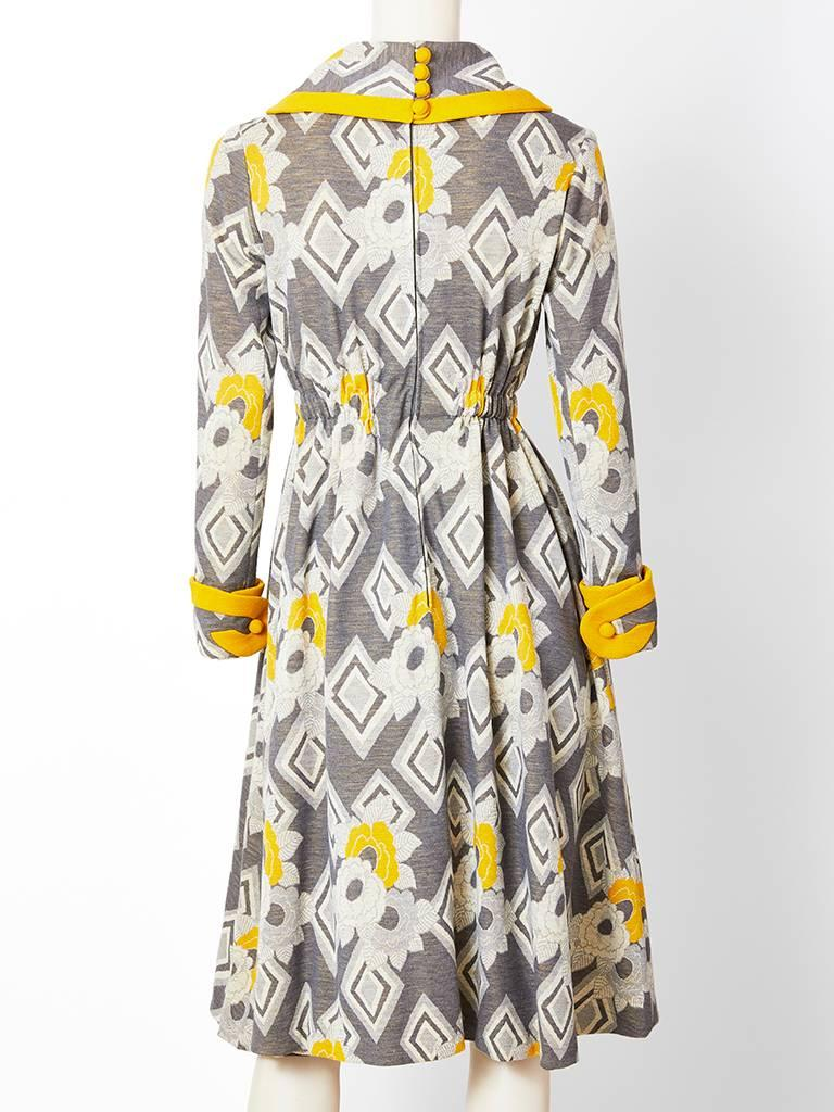 Ronald Amery Mustard and Grey Patterned Knit Dress In Good Condition For Sale In New York, NY