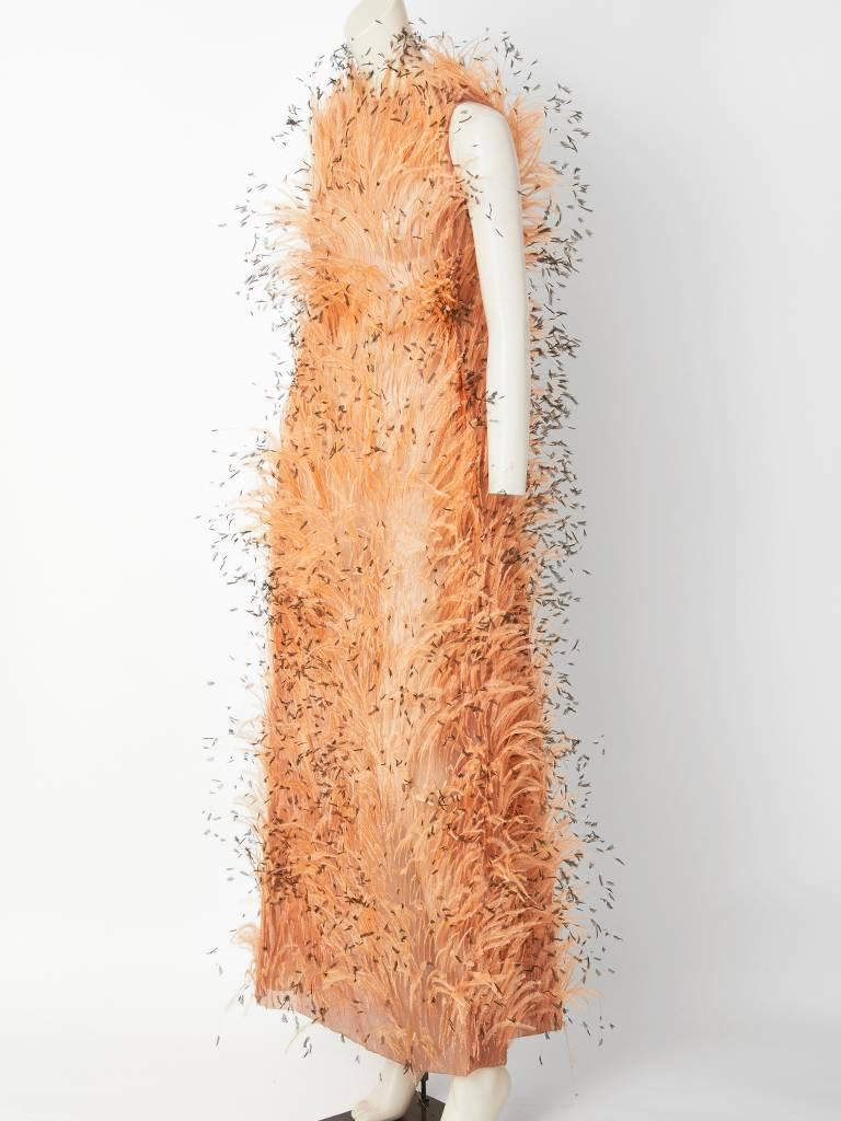 Orange Balenciaga Feathered Gown C. 1967 For Sale