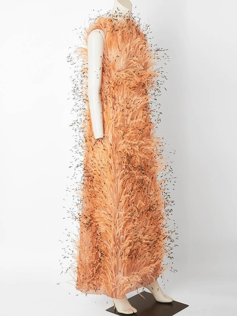 Balenciaga Feathered Gown C. 1967 In Excellent Condition For Sale In New York, NY