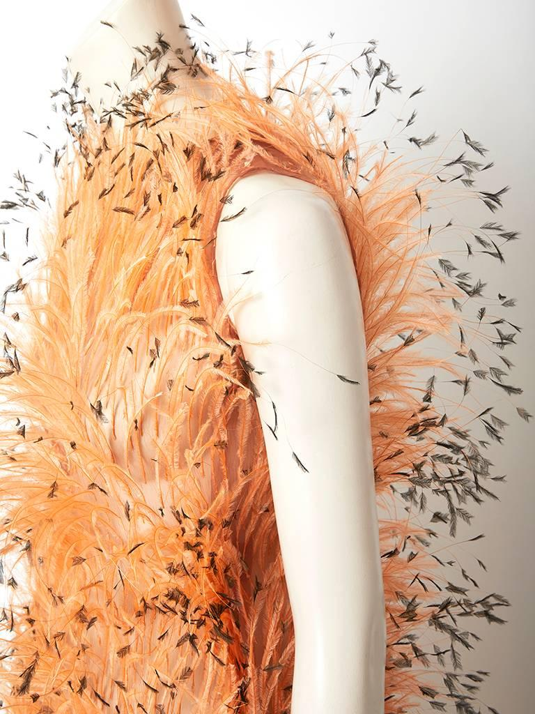 Balenciaga Feathered Gown C. 1967 For Sale 1