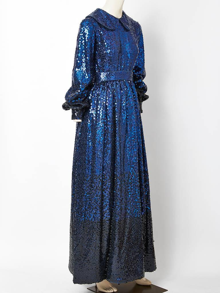 Donald Brooks Sapphire Blue Sequined Gown 2