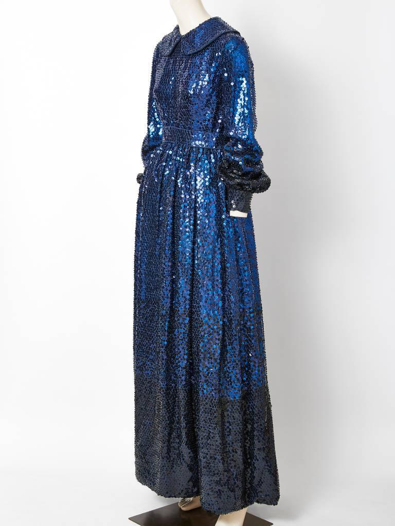 Donald Brooks Sapphire Blue Sequined Gown 3