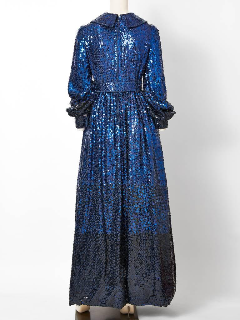 Donald Brooks Sapphire Blue Sequined Gown 4