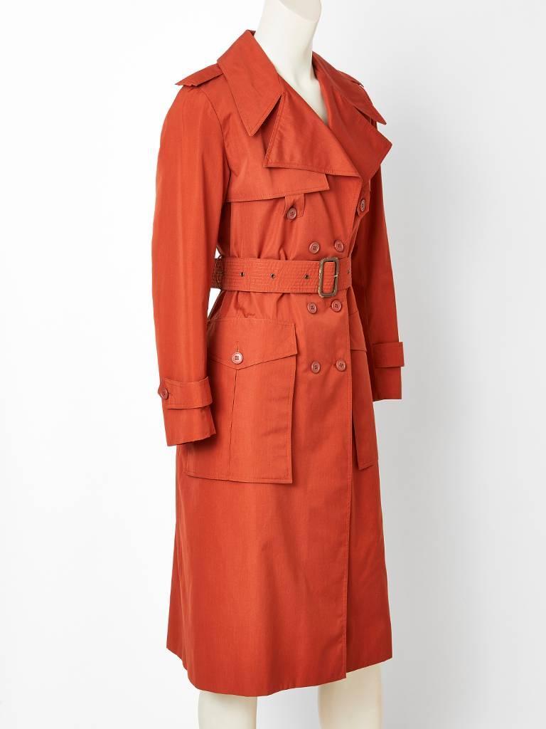 Yves Saint Laurent Rive Gauche Double Breasted Trench C. 1970's 2