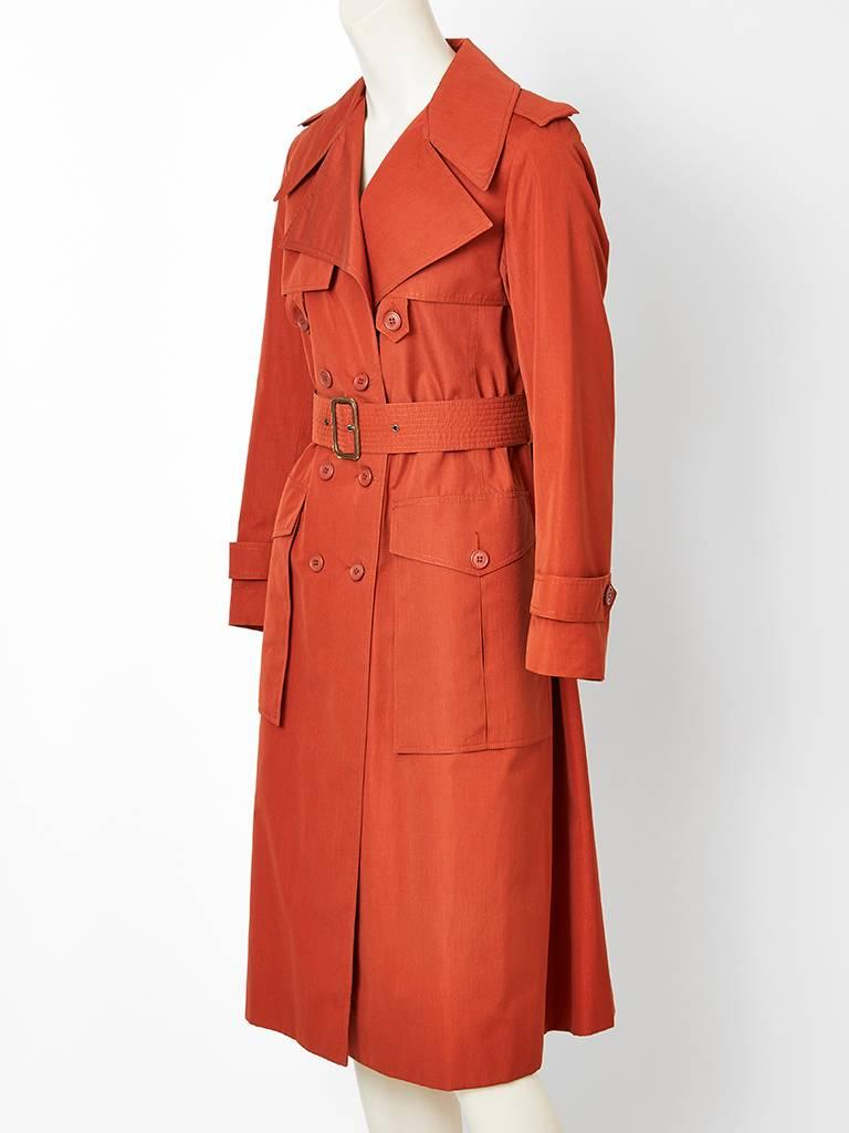 Yves Saint Laurent Rive Gauche Double Breasted Trench C. 1970's 3