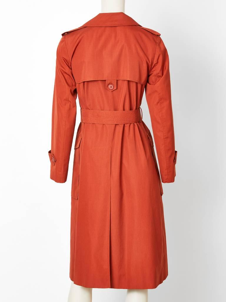 Yves Saint Laurent Rive Gauche Double Breasted Trench C. 1970's 4