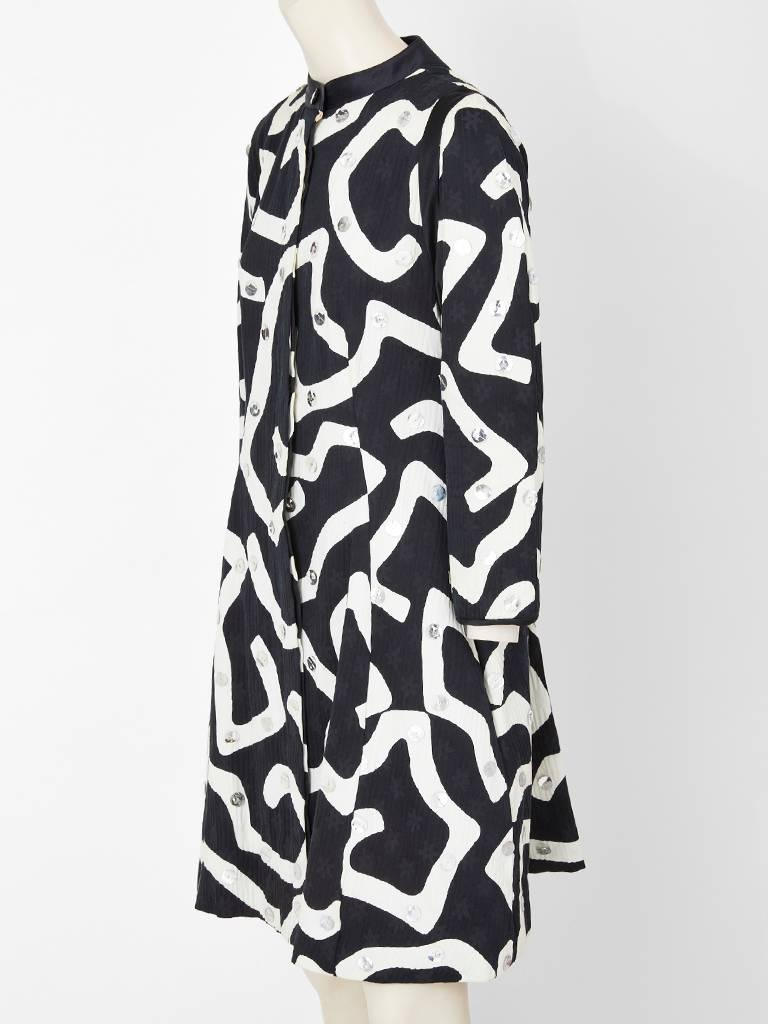 Black Geoffrey Beene Graphic Pattern Coat with Paiettes For Sale
