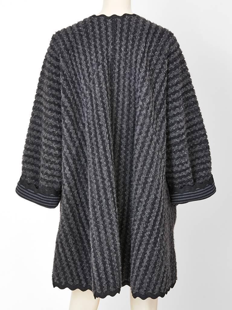 Black Geoffey Beene Wool  Knit Swing Coat with Ric Rac Detail For Sale