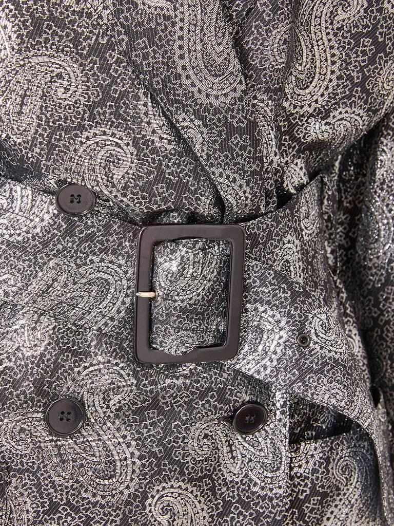 Jean Louis Scherrer Silver Lamé Evening Trench In Excellent Condition For Sale In New York, NY