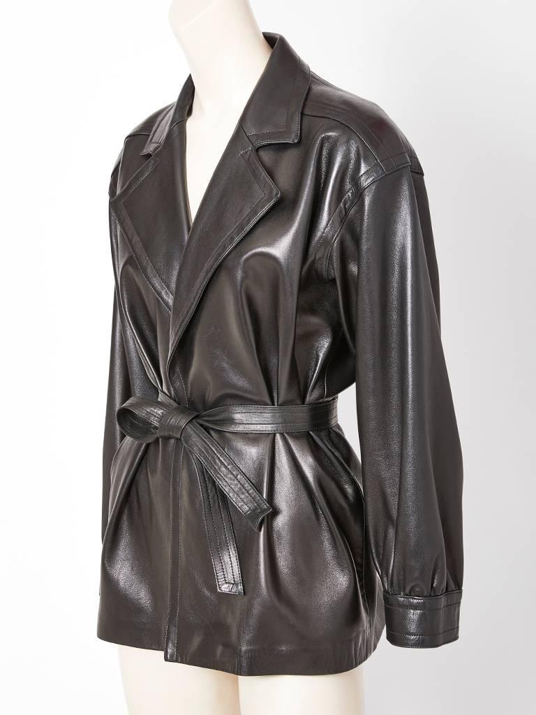 896dc21f0a Yves Saint Laurent Black Leather Belted Jacket