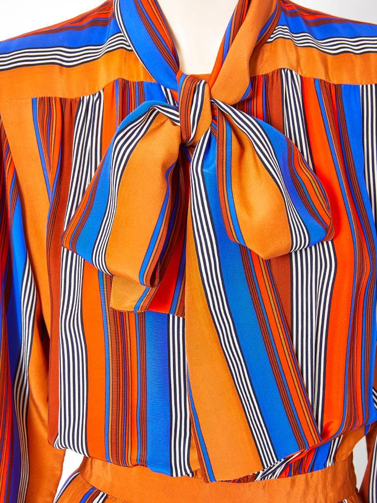 Yves Saint Laurent Rive Gauche Silk Stripe Day Dress In Excellent Condition For Sale In New York, NY