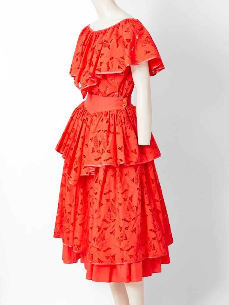 Claude Montana, for Complice, orange tone, cotton eyelet, tiered skirt and top ensemble. Top is peasant style, having an elastic, adjustable neckline that can be worn off the shoulders. There is a triangular shaped flounce that covers the shoulders
