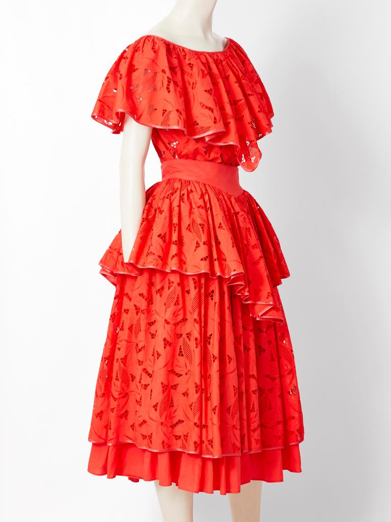 Red Complice by Claude Montana Cotton Eyelet Ensemble For Sale