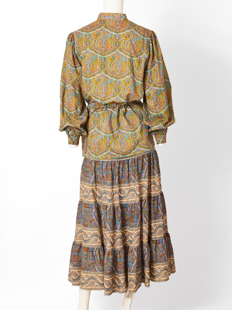 Yves Saint Laurent Rive Gauche Paisley Pattern Peasant Ensemble In Excellent Condition For Sale In New York, NY