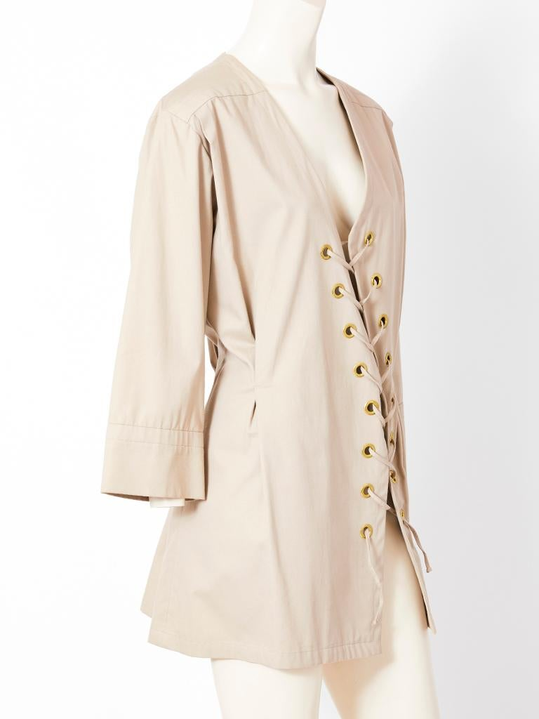 Beige Yves Saint Laurent Khaki Saharienne Tunic For Sale