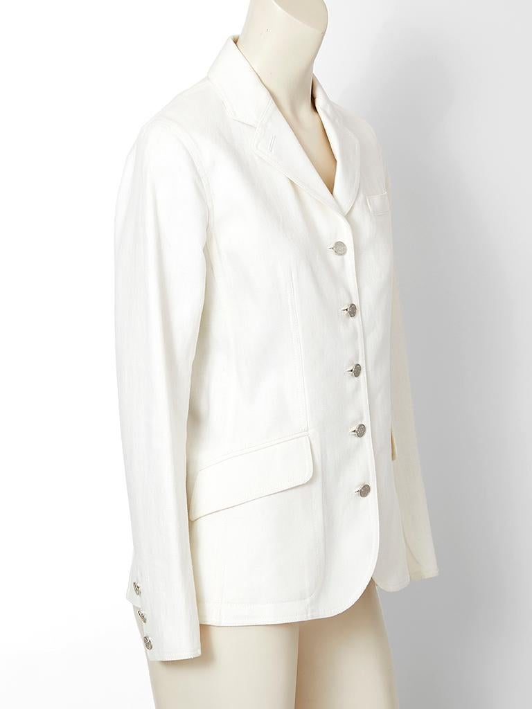 Martin Margiela for Hermes white denim, fitted blazer, having a notched collar, flap side pockets and silver tone Hermès front button  closures.