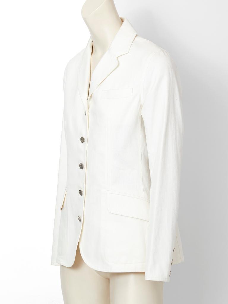 Gray Hermes Denim Blazer For Sale