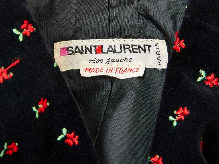 Yves Saint Laurent Embroidered Velvet Evening Ensemble For Sale 2