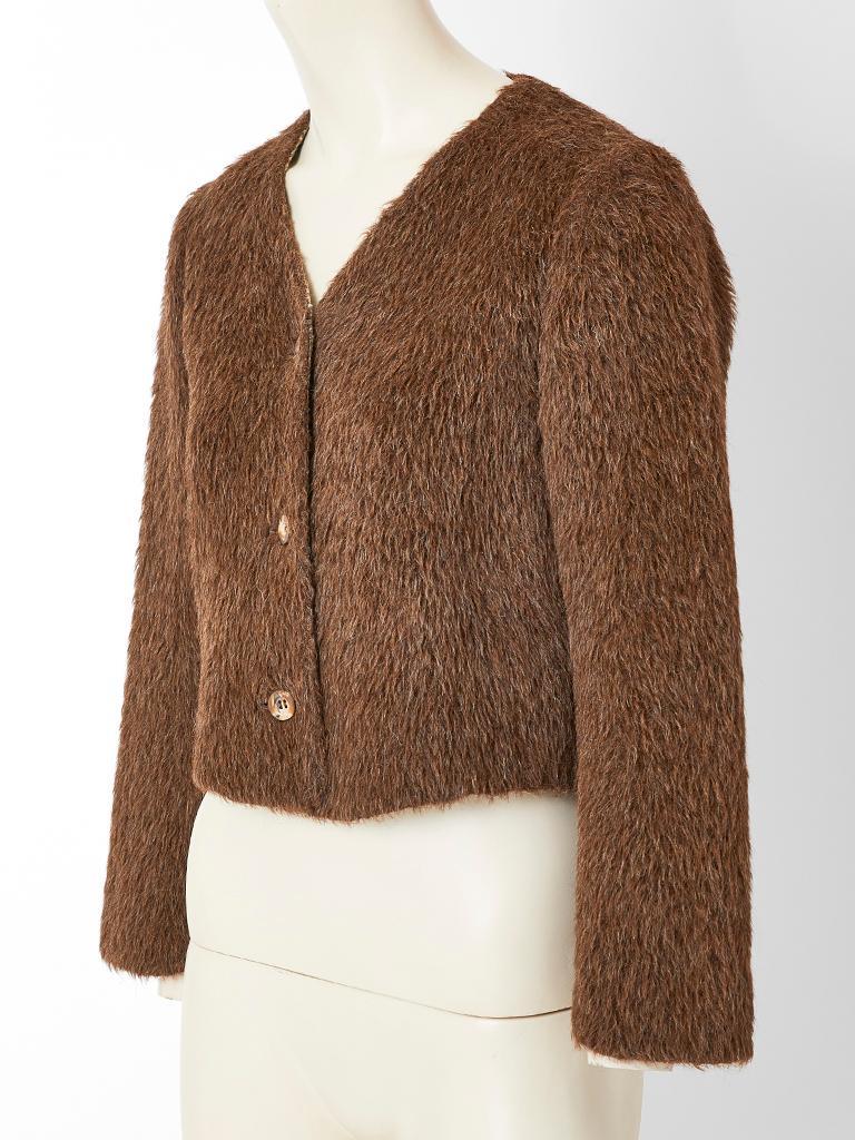 Brown Geoffrey Beene Mohair Jacket For Sale
