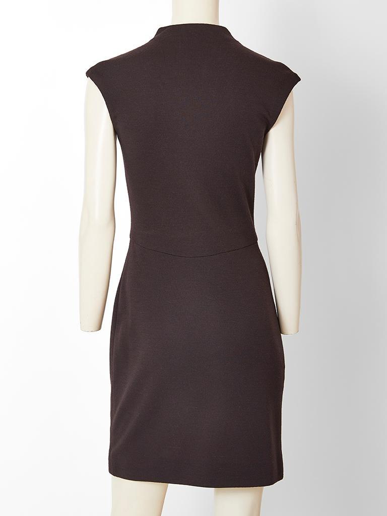 Black Geoffrey Beene Wool Jersey Day Dress For Sale