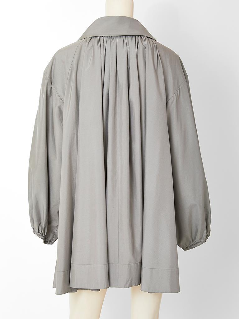 Gray Yves Saint Laurent Taffeta Swing Jacket For Sale